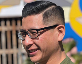 Skin Fade with hard part