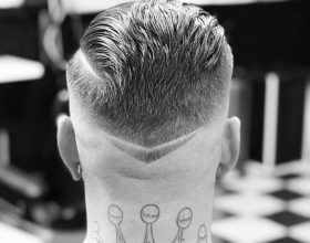 Skin fade with straight razor design