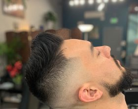 Haircut with skin fade and beard trim